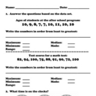 Everyday Math, Grade 3, Unit 1 Review Worksheet- #2