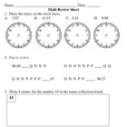 Everyday Math, Grade 3, Unit 1 Review Worksheet