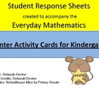 Everyday Math Kindergarten Center Card Response Sheets