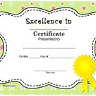 Excellence in _ Cute End Of The Year Certificate Award Pre
