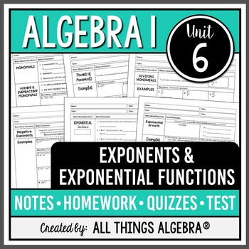 Exponent Rules (Properties) - Notes, Homework, Quizzes, an