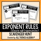 Exponent Rules (Properties) Scavenger Hunt