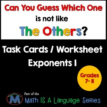 Exponents - Can you guess which one? - Task Cards