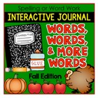 FALL-Spelling or Word Work: Interactive Journal Printables