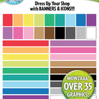 Rainbow Shop Banners and Icons Clip Art Set — Over 35 Graphics!