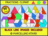 FRACTIONS CLIPART-TRIANGLES,PENTAGONS &HEXAGONS-90 IMAGES-