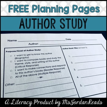 {FREE} Author Study Planning Page