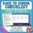 Classroom Procedure Checklist for the Start of the Year - FREE