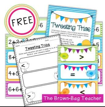 {FREE} Comparing Equations with Three Addends: Tweeting Trios