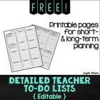 FREE Detailed Teacher To-Do Lists: Editable forms for shor