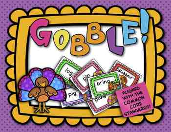FREE! Gobble Game: CVC Words, Blends, and Digraphs