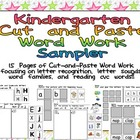 FREE Kindergarten Cut and Paste Word Work Sampler