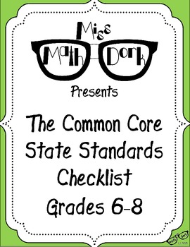 FREE: MATH Common Core State Standards 6-8 Checklist