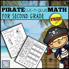 FREE!  Pirate Cut-and-Glue Math for Second Grade