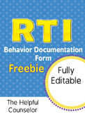 FREE RTI Behavior Documentation: Intervention & Progress M