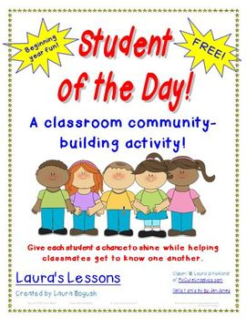 ... of the Day Back to School Classroom Community-Building Activity