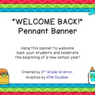 "FREE ""WELCOME BACK!"" Chevron Pennant Banner - Back to School"