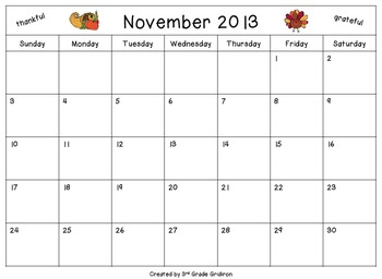 "FREE ""What I'm Thankful For"" Calendar"