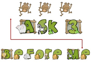 FREEBIE - Ask 3 Before Me Sign Jungle or Monkey theme