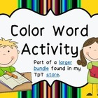 FREEBIE Color Word Activity