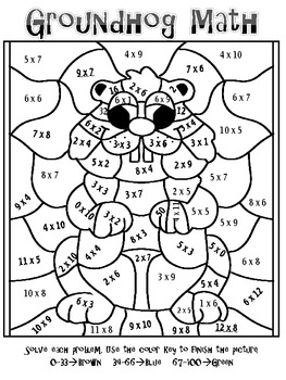 FREEBIE! Groundhog Day Multiplication Mosaic-Fun!