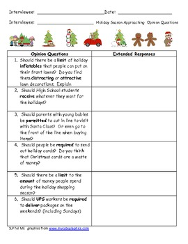 ... Holiday Interview 'Should' Questions for Middle & High School Students