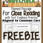FREEBIE: November Close Reading Passage w/ Aligned Text De
