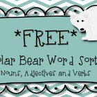 **FREEBIE*** Polar Bear Word Sort: Nouns, Adjectives & Verbs