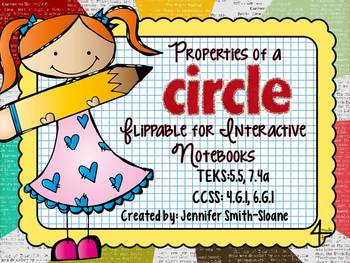FREEBIE Properties of a Circle Flippable (Foldable) and Exit Ticket