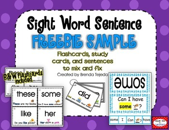 FREEBIE: Sight Word Sentence Flashcards & Trace and Read Cards: Common Core