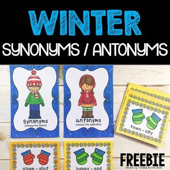 FREEBIE! Synonyms and Antonyms Sort Help the Children Find Their Mittens
