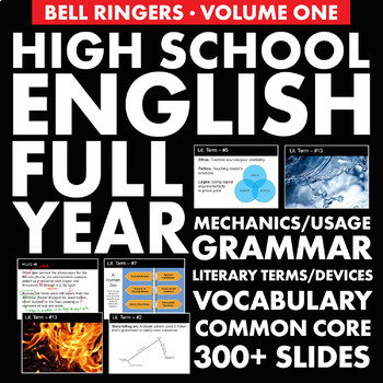 FULL YEAR of English Class Vocabulary, Grammar, and Literary Terms, Devices