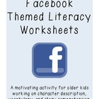 Facebook Themed Literacy Worksheets