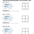 "Factoring Polynomials:  Box Method ""Puzzles"""