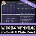 Factoring PowerPoint Review Game