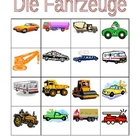 Fahrzeuge (Vehicles in German) Bingo and flashcards
