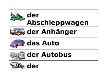 Fahrzeuge (vehicles in German) word wall