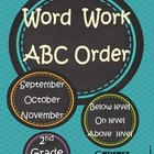Fall ABC Word Work:  Sept, October & November....Differentiated