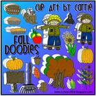 Fall Doodles Digital Clip Art (BW and Color PNG images)