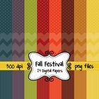 Fall Festival Digital Background Papers in Chevron, Polka