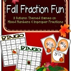 Fall Fraction Fun - 3 Mixed Number and Improper Fraction Games