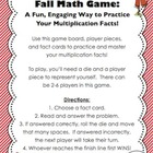 Fall Math Game - Mastering Multiplication Facts (CCSS Aligned)