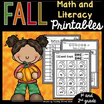 Fall  Math and Literacy Printables 67 PAGES! Great for Centers Seatwork