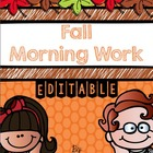 Fall Morning Work for Kindergarten (Common Core Aligned)