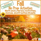Fall No Prep Printables - Save My Ink!