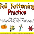 Fall Pattern Independent Practice for Kindergarten-1st Grade