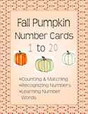 Fall Pumpkin Number Cards 1 to 20