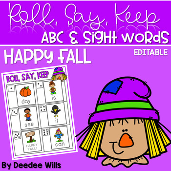 Fall Roll, Say, Keep-Editable Sight Word and ABC Game