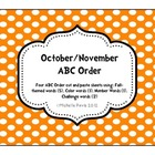Fall Words ABC Order--Including Challenge ABC order/Number order