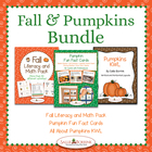 Fall and Pumpkins BUNDLE - Literacy and Math Activities, F